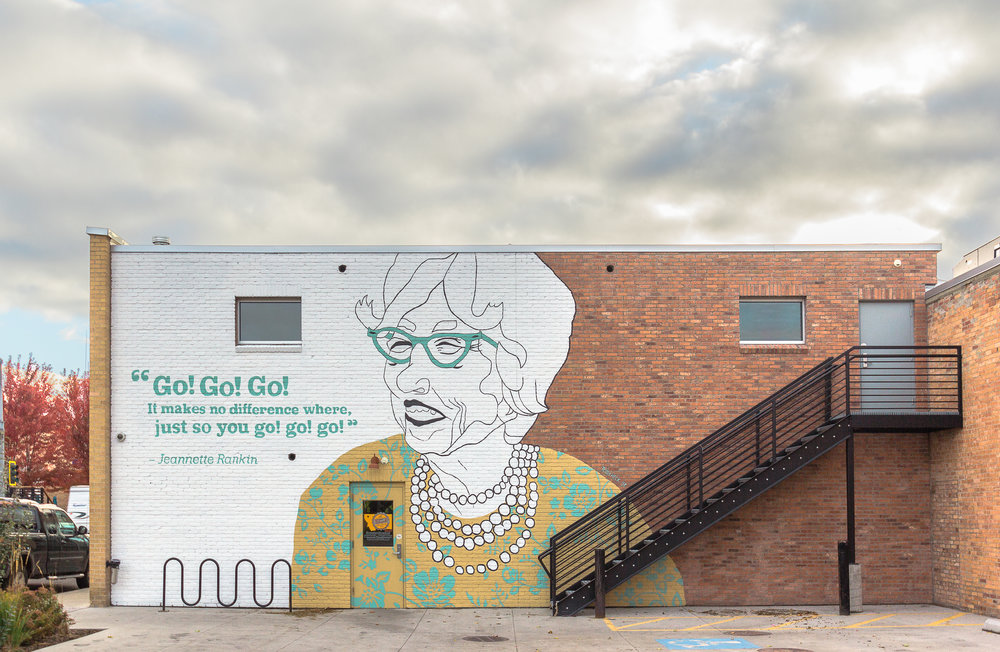 Custom mural commissioned by Kalispell Brewing Company of Jeannette Rankin in downtown Kalispell, MT. c. 2018