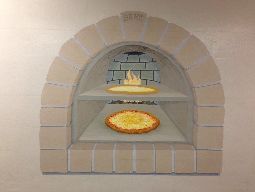 detail of Pizza Oven from BRMS cafeteria Mural