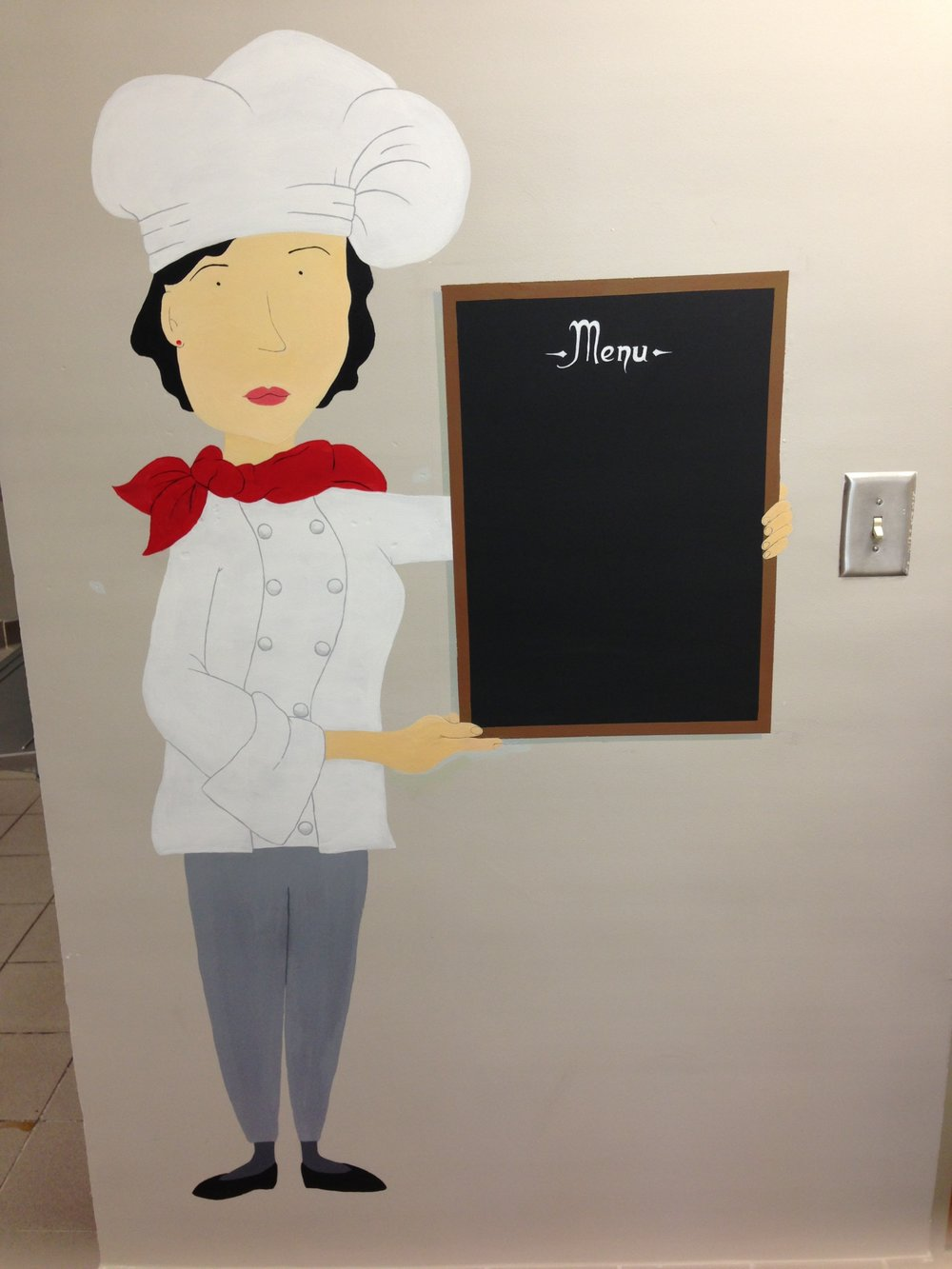 stylized menu chef for BRMS cafeteria mural