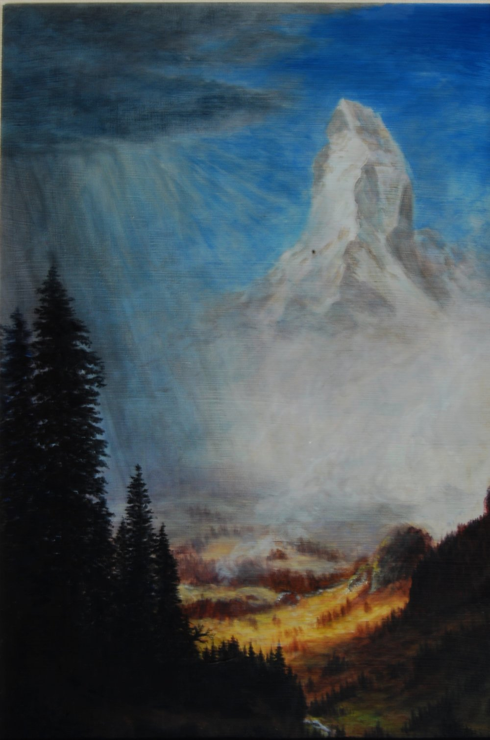 "study of Albert Bierstadt's ""Sunrise on the Matterhorn"""