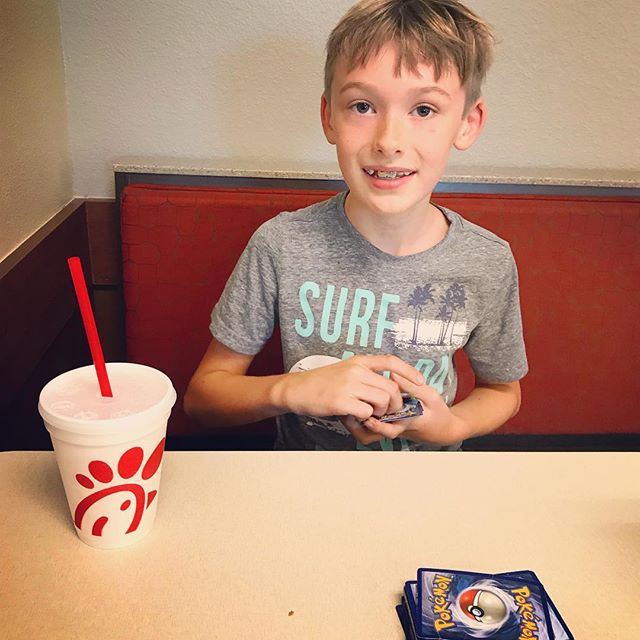"#daddydate with this guy yesterday. ""Best #Pokémon game I've ever played!"" Thanks @chickfila !"