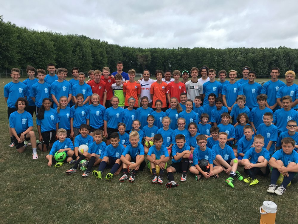U.S. U18 National team Head coach Omid Namazi (Center) and the campers enjoy summer camp in 2016. Coach Namazi will return July 24, 2017 for another summer training camp!