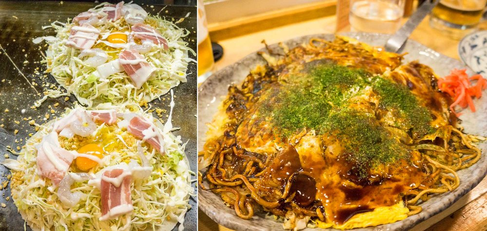 Before and after stages of Okonomiyaki.
