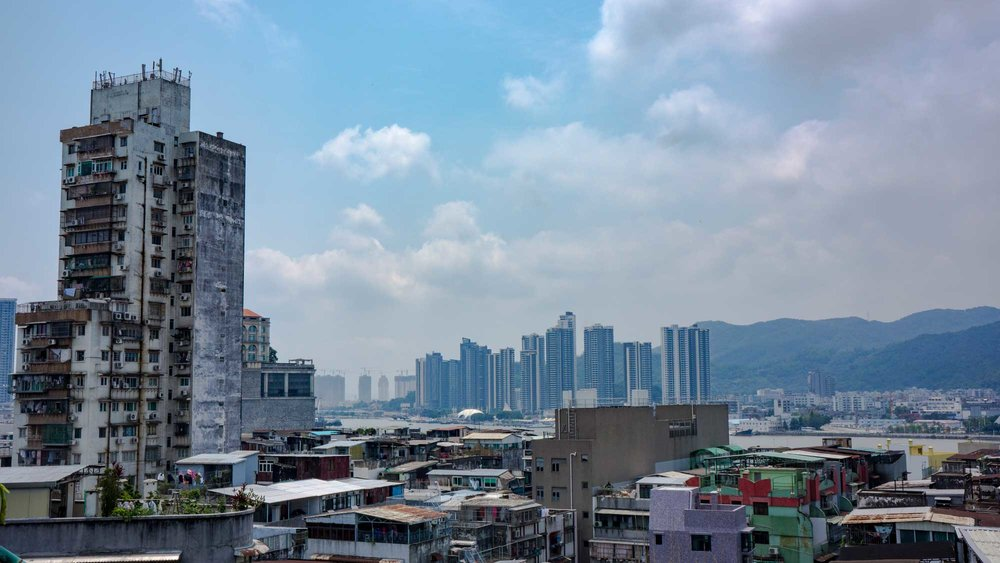 Macau, with its juxtaposition of old and new skylines.