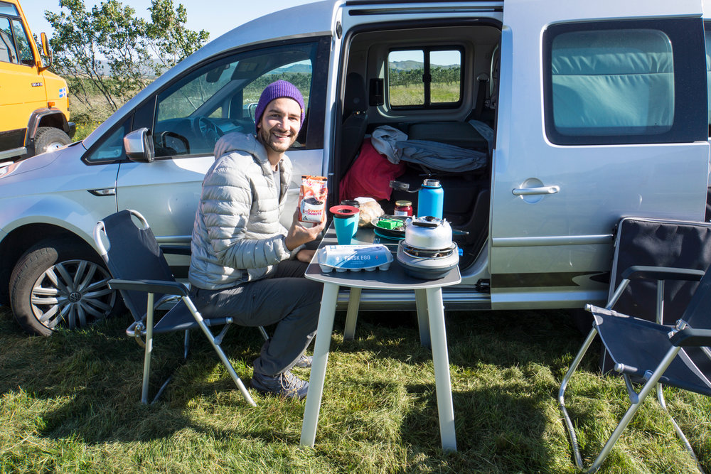 First breakfast car camping Iceland!