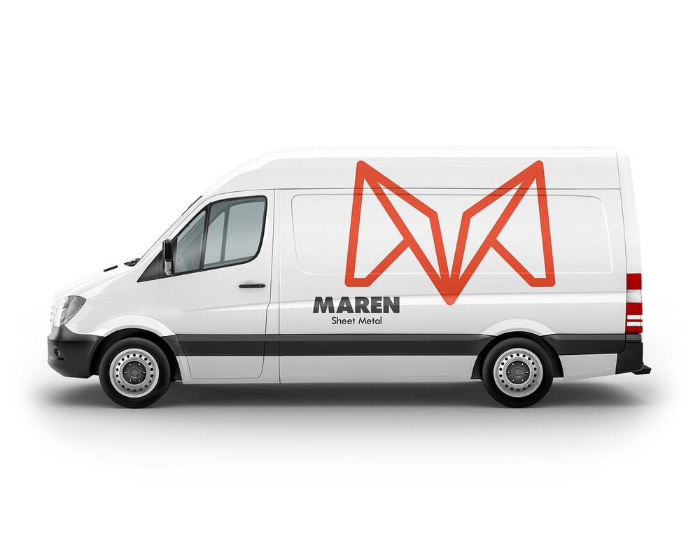 Vinyl logo and branding of the company on a white van