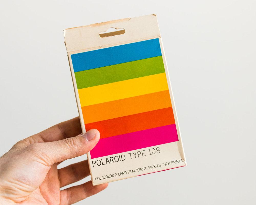 Vintage Polaroid Type 108 packaging design