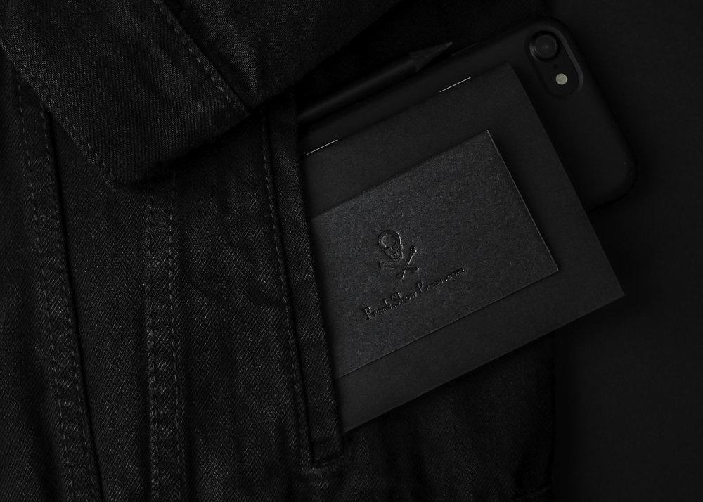 Black on black business cards for letterpress shop