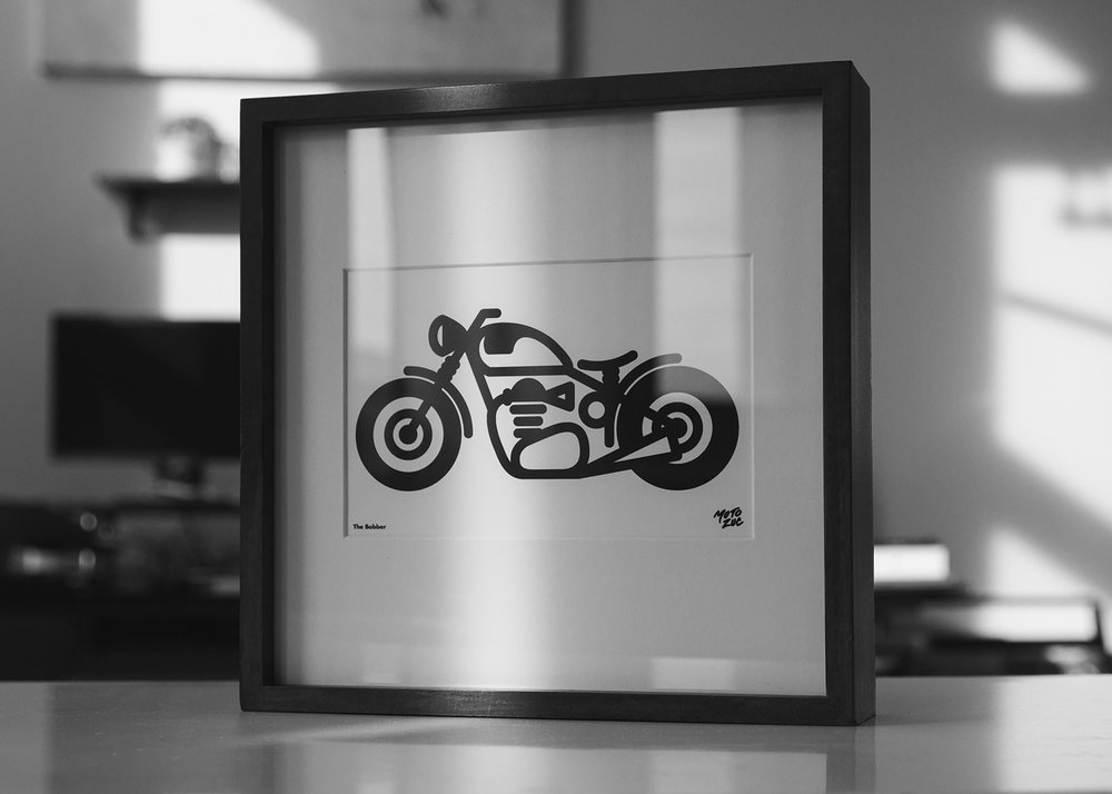 Vector illustration of custom Triumph bobber framed