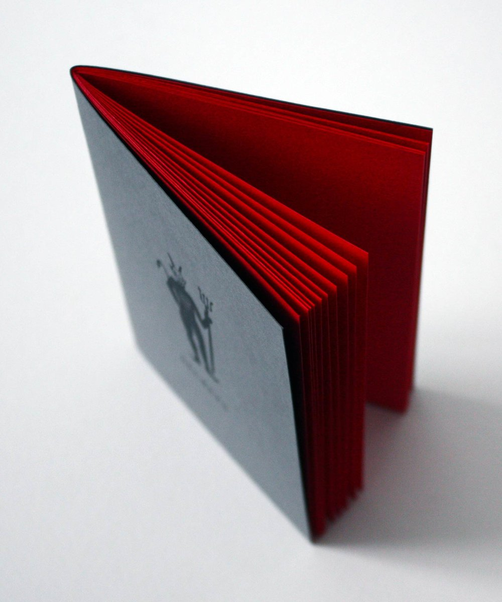 Sketchbook with red pages for drawing