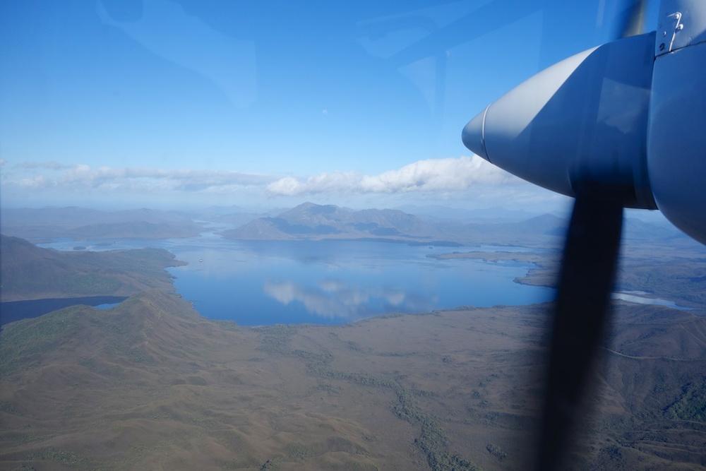 Flying across Tasmania from Hobart to Melaleuca