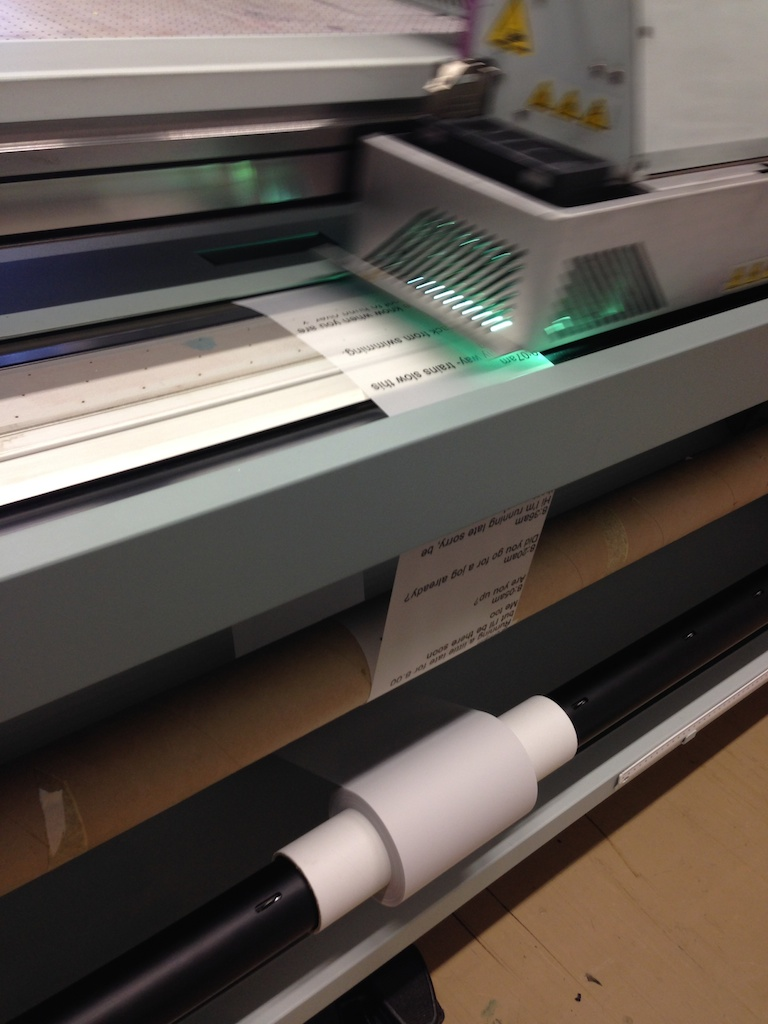 Printing the scrolls on the large-format flatbed printer at ANU Inkjet research facility
