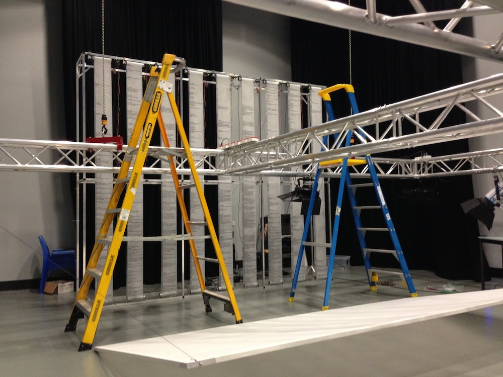 Lowering the gantry to suspend the projection screen