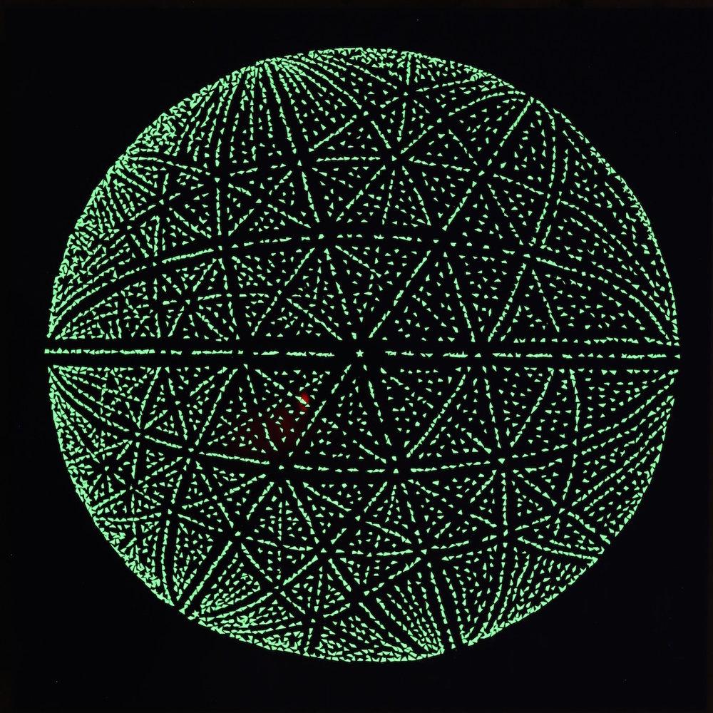 Ewald Sphere 1, 2015, glow in the dark stars on acrylic, 50 x 50 cm (UV light)