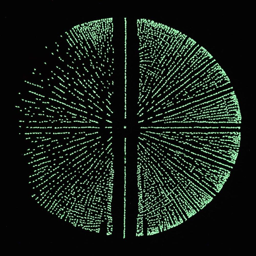 Ewald Sphere 3, 2015, glow in the dark stars on acrylic, 50 x 50 cm (UV light)