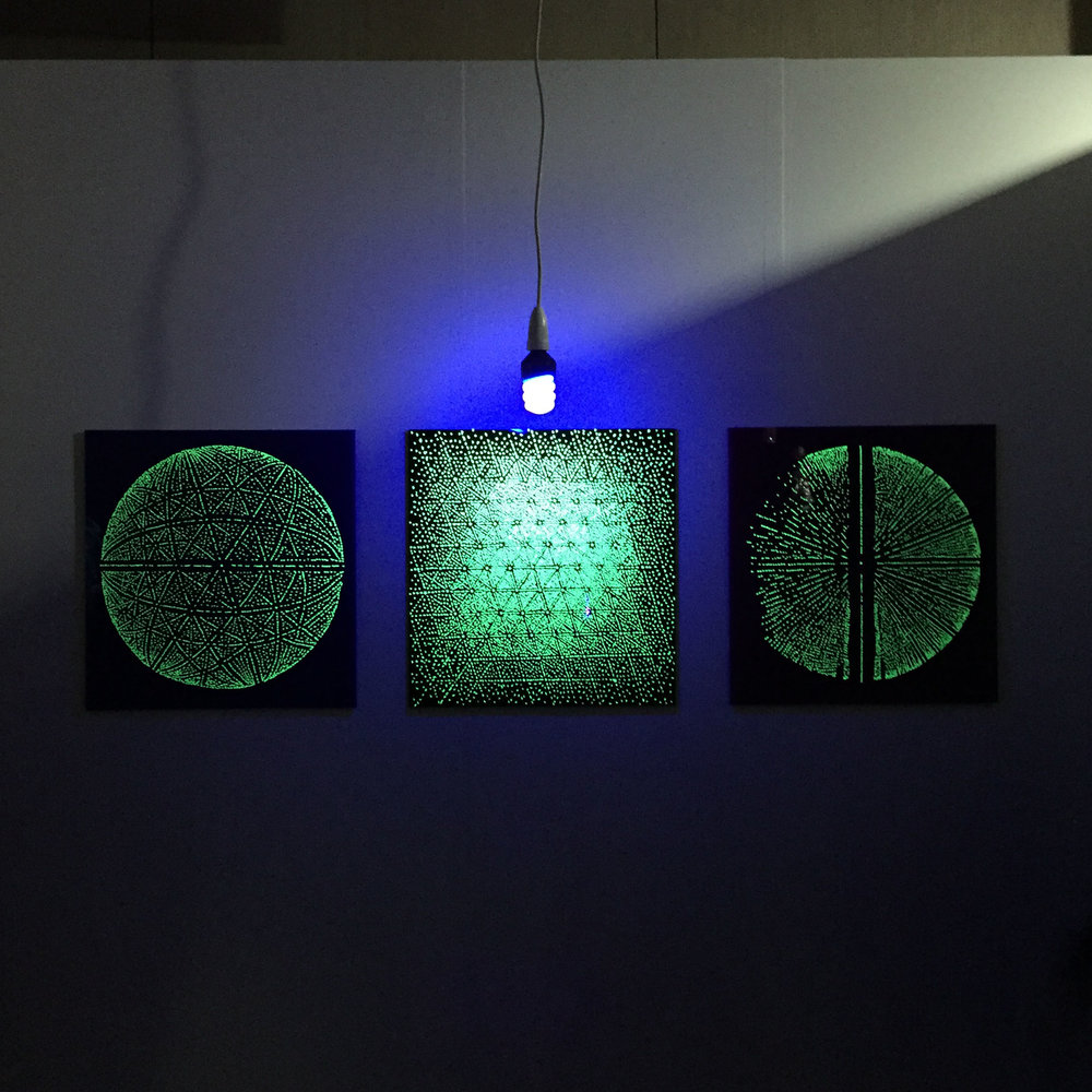 The Ewald Spheres, 2015, glow in the dark stars on acrylic, 50 x 50 cm each. Installation view in Light Speculation, Lab-14 Gallery, Melbourne.