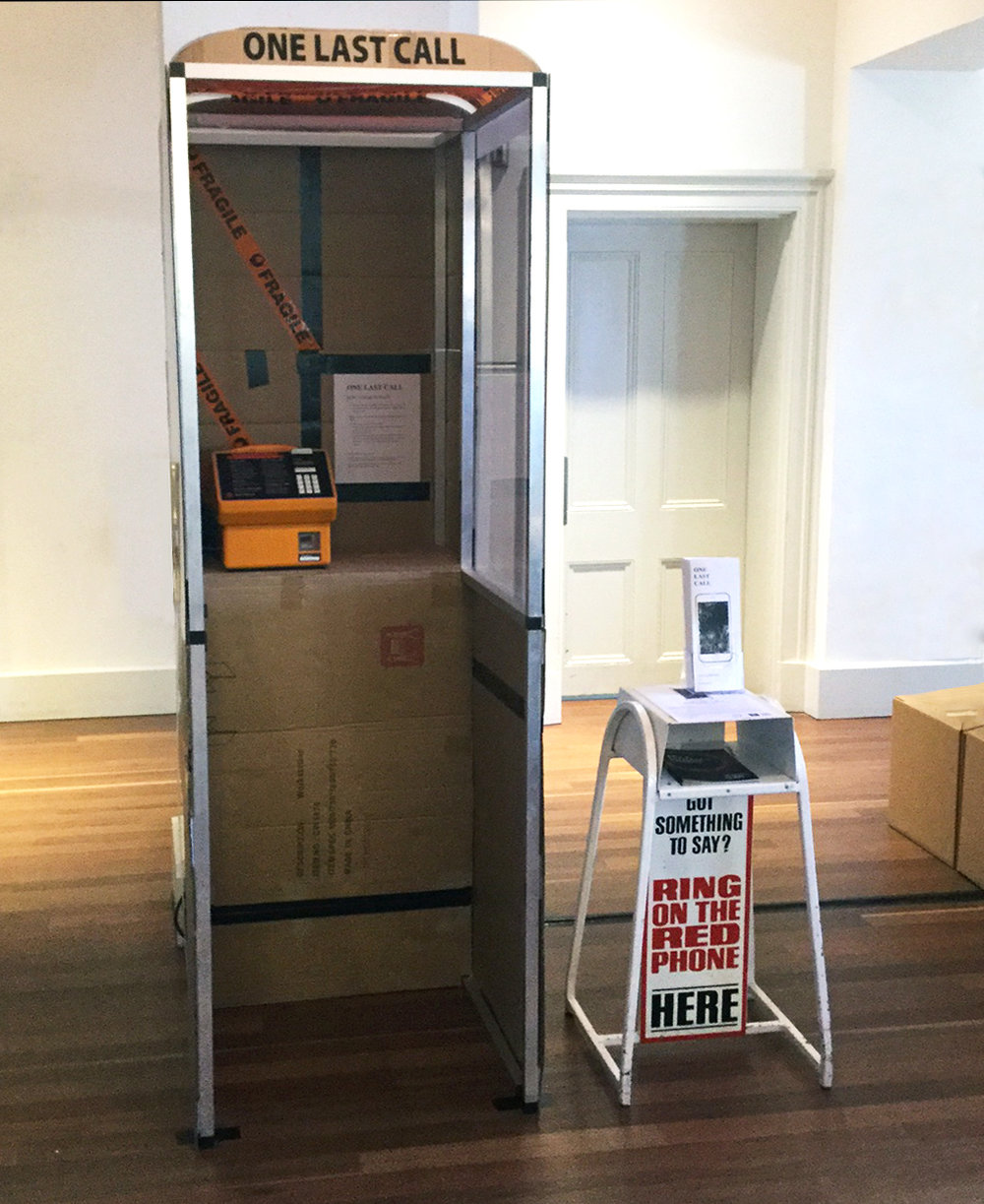 The One Last Call phone booth installed at the Kathleen Syme Library and Community Centre, Melbourne, 2017.