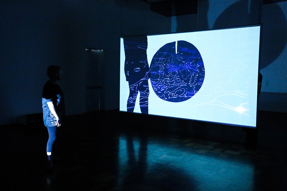 Eclipse , 2017, two-channel hand-drawn animation displayed as double-sided projection, 3 min loop  Installation view, ANU School of Art & Design Gallery, Canberra