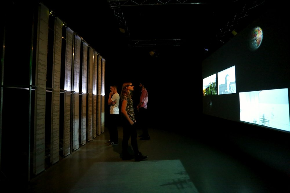 Crossed Wires , 2014, 9 mechanical scrolls and 13 hand-drawn animations in interactive system, dimensions variable. Installation view, UNSW Art & Design, Sydney