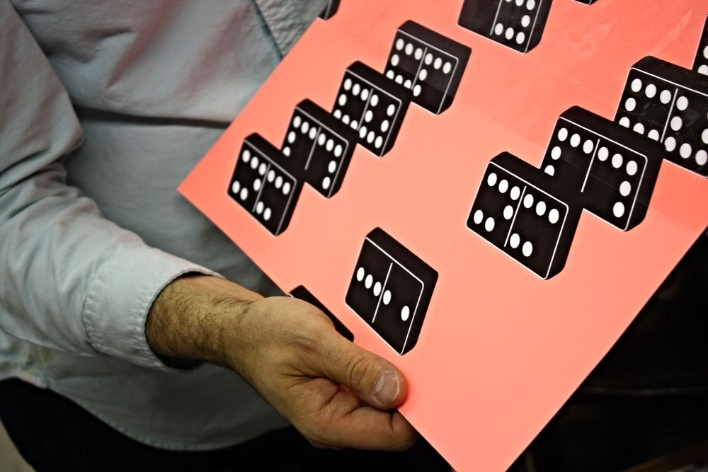 Dominoes Print, a maticulus Screen Printing Technique as displayed by Skinner.