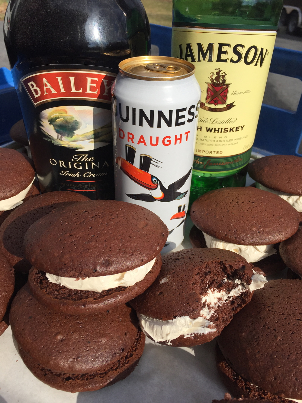 Irish Car Bomb   Guinness chocolate cookie with a Baileys and Jameson Irish Whiskey whipped filling