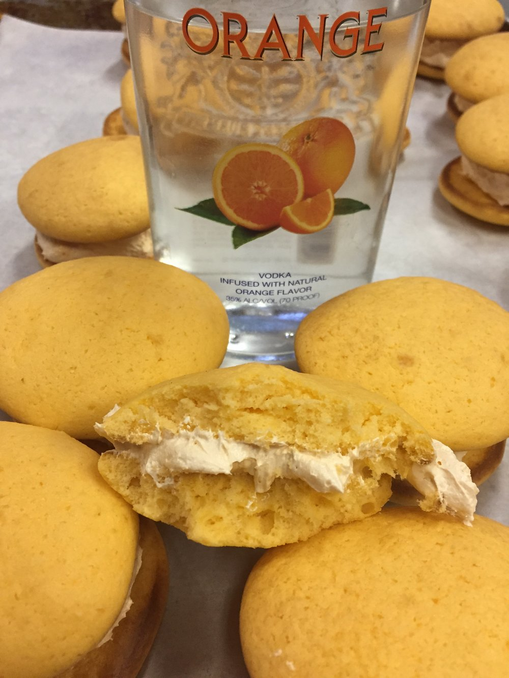 Orange Crush   Orange cookie with a Orange Vodka filling