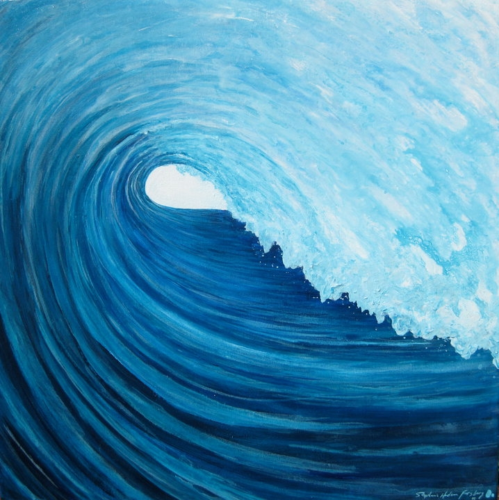 Stephanie Hudson Forsberg %22Serenity%22 acrylic on canvas 24%22 x 24%22 donation to Tom Neilson Surfboards Benefit July 17th in Coco Beach, FL.jpg