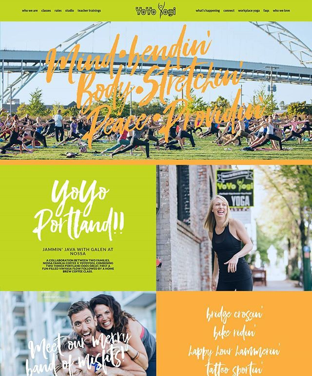 Loved bringing this bold and bright design to life for Portland-based yoga studio, YoYo Yogi! Web design and development by Web Couture in collaboration with Burn & Broad (branding geniuses). Check it out at: yoyoyogi.com