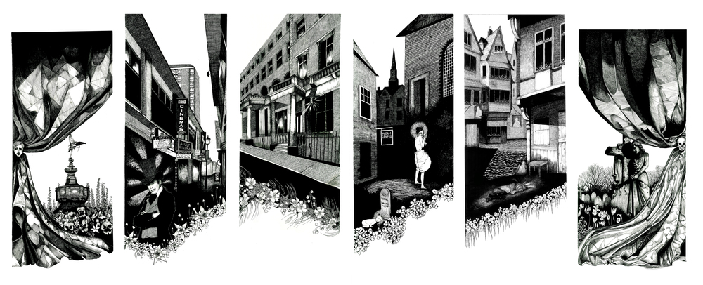 """SIX STATES OF INTOXICATION  Six states of intoxication, six stories and six London boroughs all depicted in ink portraying stages brought on by Alcohol :Euphoria, Confusion, Lethargy, Stupor, Coma and Death. The symbolic use of flora (floriography / The Language of Flowers) portrays emotion and helps tell their sad tale in each panel which commemorate these often creative individuals and their love of liquor; from Poet Ernest Dowson's love of Absinthe in Euphoria to tragic Judith Defour's gin addiction in Stupor.  Euphoria Ernest Dowson (2 August 1867 – 23 February 1900) """"The curious effects of one's mind after much absinthe! One's ineffectual endeavours to compass a busy crossing! The unreality of London to me! How wonderful it is!"""" Poet, novelist and writer of short stories associated with the Decadent movement, Dowson's tragic tale is a testament to London and its excesses. An Oxford graduate and part of London's literary scene alongside Oscar Wilde and Aubrey Beardsley, Dowson's addiction got slowly worse until the death of his parents in 1894 and 1895, when his drinking increased dramatically. He was discovered, drunk and destitute in a wine bar by fellow writer Robert Sherard who took him back to his cottage in Catford where he was to spend the last 6 weeks of his life. Dowson died of alcoholism aged 32. Balsam – Ardent Love, Chamomile – Energy in Action, Elderflower – Zeal,   Larkspur – Levity, Lightness and an Open Heart, Yellow Lilly – Walking on Air, Pansy – Merriment.  Confusion Sebastian Horsley (8 August 1962 - 17 June 2010) """"Sobriety says no, drunkenness says yes. It gives wings to our wilderness. It makes us for the moment one with the truth. And then like everything, it fails us. We take drugs to ape the angels, only to become animals. In the end drinking is, in truth, about as glamorous as swigging meths. What to do? Give me liberty or give me death? Give me Librium or give me meth.""""  An artist, dandy and one time victim of crucifixion, Horsley was """