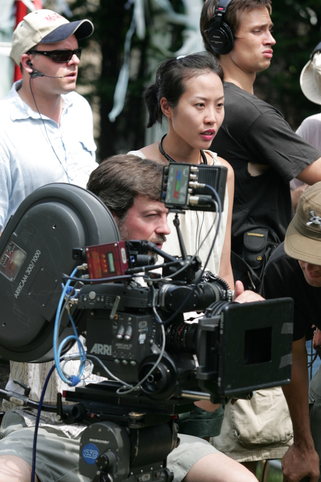 Gina Kim is photographed on a film set. (Gina Kim)