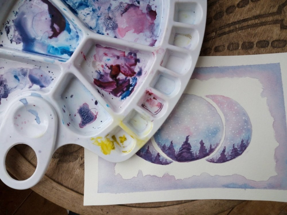 Experimenting with watercolours!