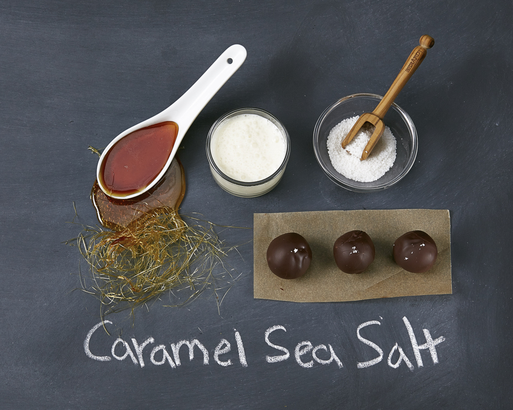 65% Gran Cru dark chocolate ganache infused with caramel and topped with fine French Fleur de Sel Sea Salt.