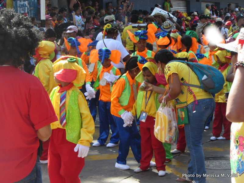 Children in Marimonda costumes during Barranquilla carnival