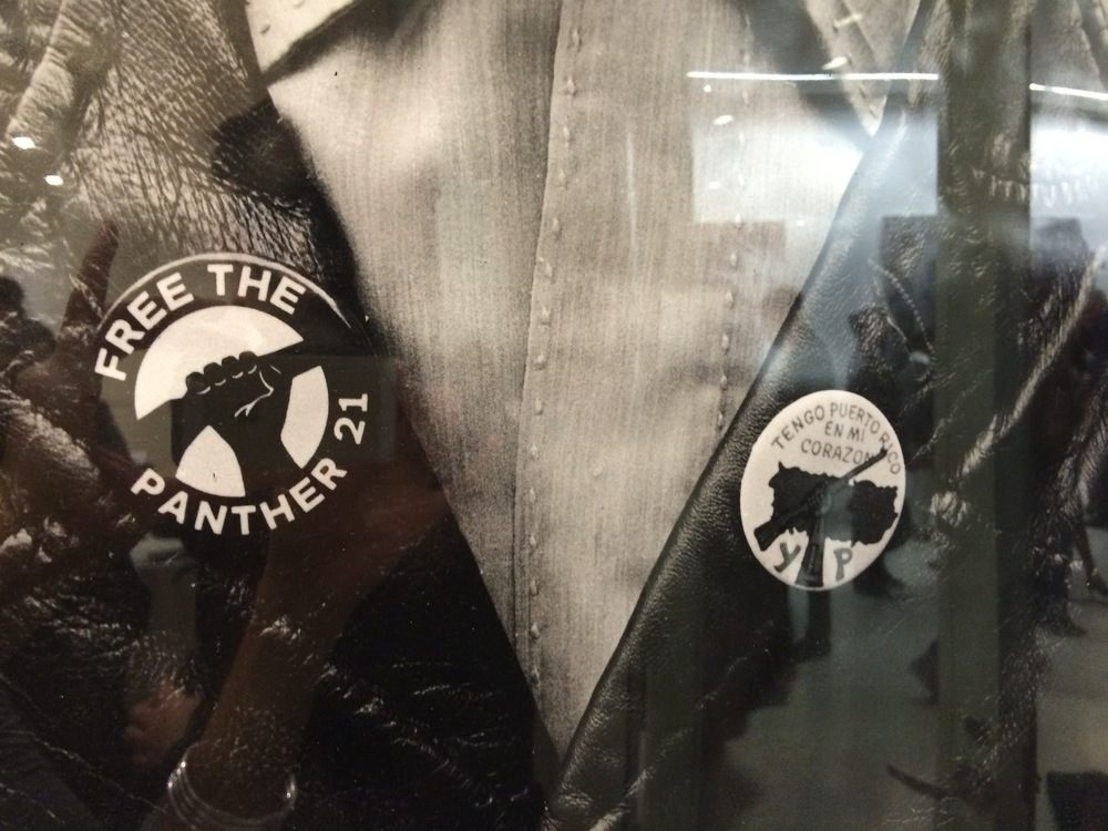 Black Panthers and Young Lords button - photo by Hiram Maristany