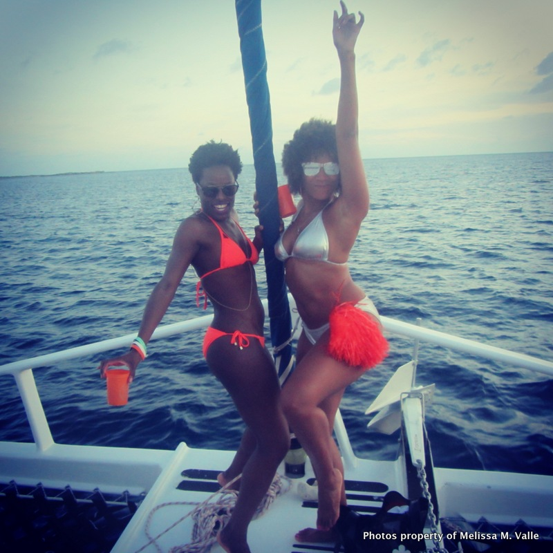 5.25.14 travelfamily Booze Cruise to OhPsalms' private island in Anguilla -heading back madness- me and Melody actin up (6).JPG
