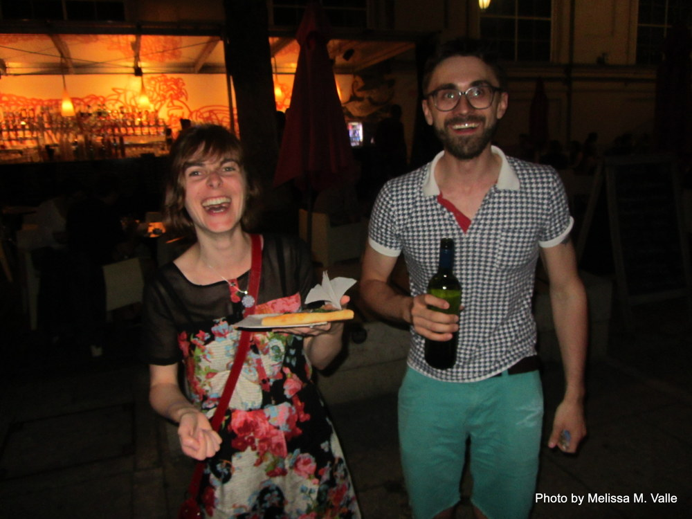 7.7.14 Vienna, Austria-wining it up in Museum Quartier after Amin lecture (14)  Andreas and Elisabeth.JPG