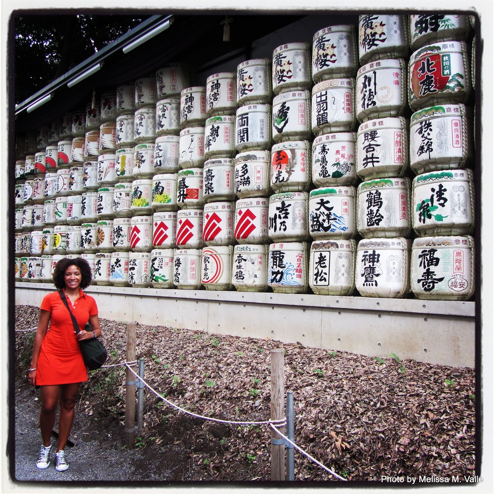 Me with Barrels of Sake Wrapped in Straw at  Meiji Jingū