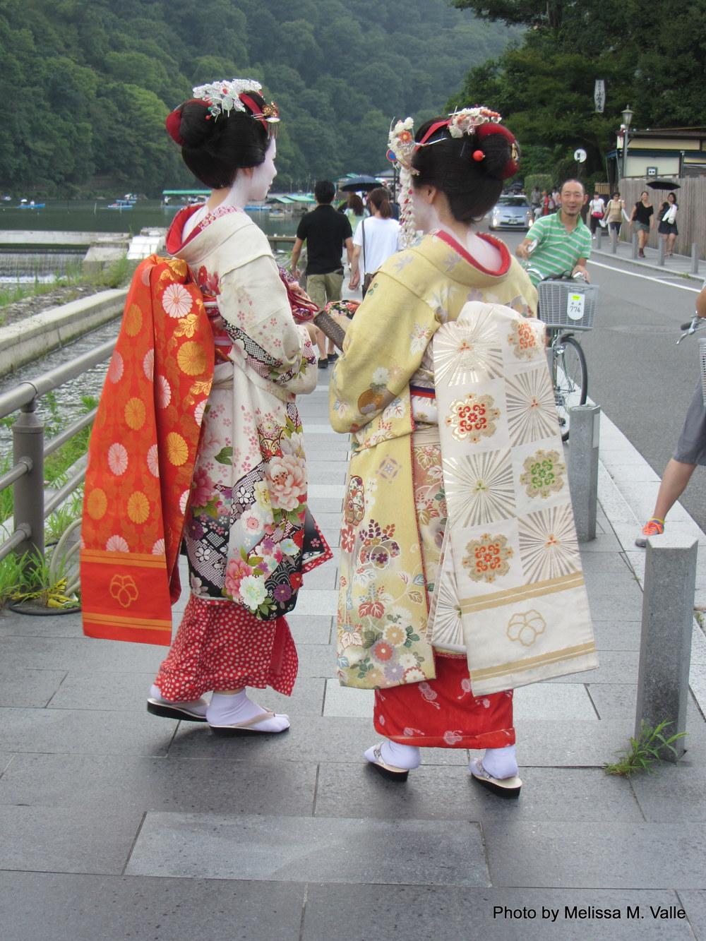 Women in traditional dress in Arashiyama