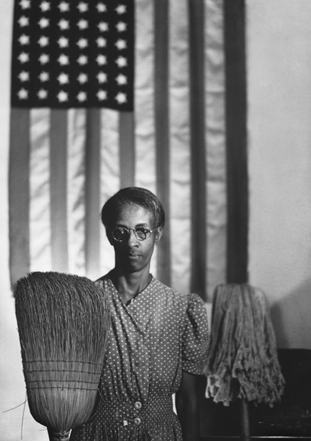 "Gordon Parks' 1942 photo of Ella Watson, ""American Gothic"""