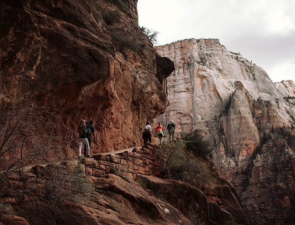 Couple hiking up Angel's Landing for their engagement shoot surrounded by red rock in Zion National Park.