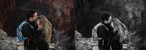 Couple snuggled together in a romantic pose at Angel's Landing in Zion National Park for their desert engagement session.
