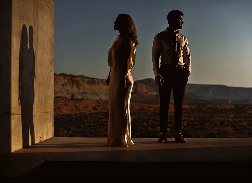 Sunrise desert engagement shoot