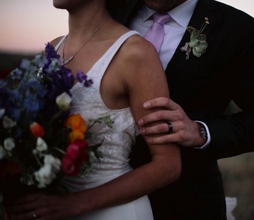 bride and groom at sunset in Park City Utah
