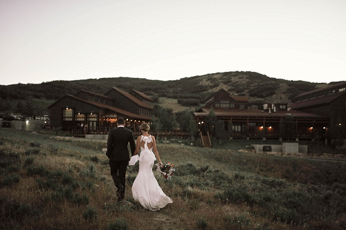 Couple outside of their wedding venue at High West in Utah