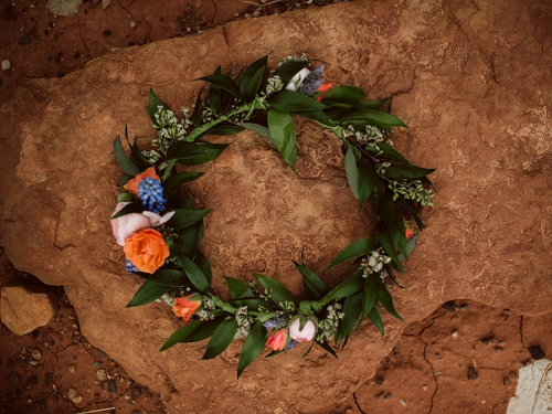 Flower crown for boho bride in the Utah desert