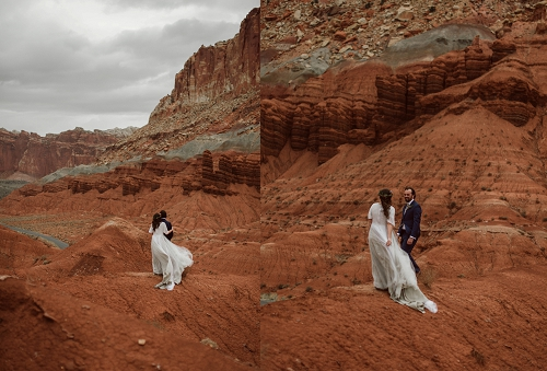Capitol Reef National Park elopement in red rock