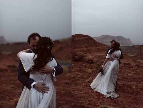 Couple in desert fog