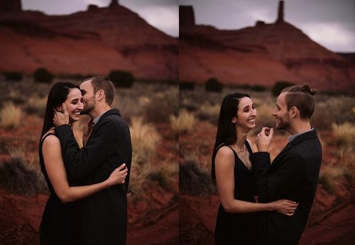 Couple laughing in Moab Utah at their engagement shoot