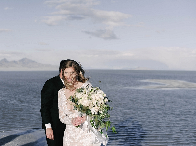 Couple after elopement ceremony at Utah Salt Flats