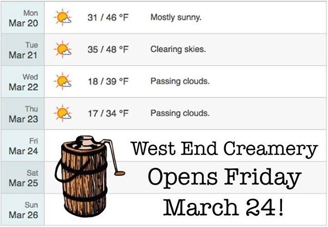 Weather Alert! Can't wait!!! #westendcreamery #icecream